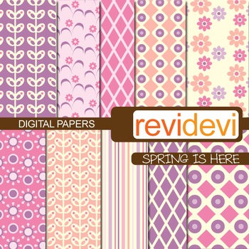 Digital papers - Spring is here (pink, purple)