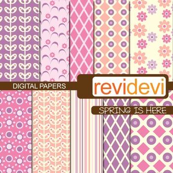 Digital papers - Spring is here (pink, purple)