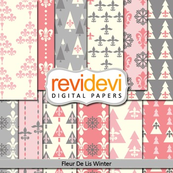 Digital papers for background - Fleur de lis winter (pink, gray, trees)