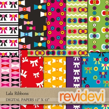 Digital papers for background - Lala ribbons - set of 10 -