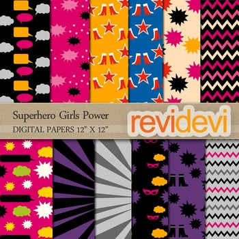 Digital papers for background - Superhero Girls Power