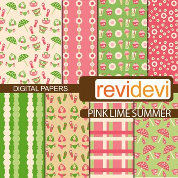 Digital papers for bulletin background - Pink lime summer
