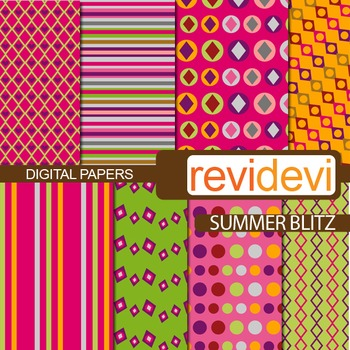 Digital papers for bulletin background - summer blitz (pink, green)