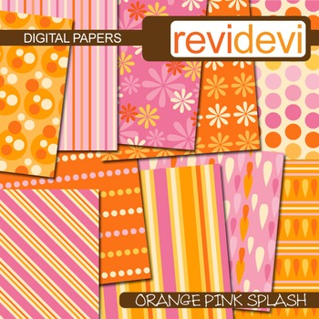 Digital papers - orange pink splash (patterned printable paper, background)
