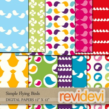 Digital papers/ patterned background - Simple Flying Birds - Set of 10