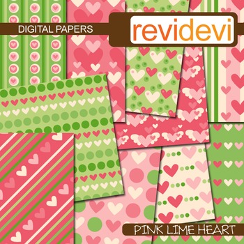 Digital papers - pink lime heart (printable, background) teacher resource