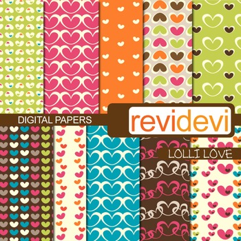 Digital scrapbook papers for background - Lolli love (heart)