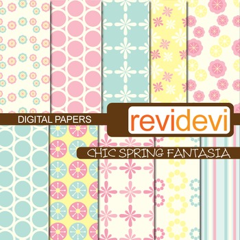 Digital scrapbook papers for background - chic spring fantasia