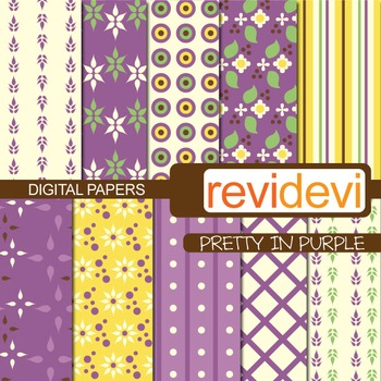 Digital scrapbook papers for background - pretty in purple (yellow, purple)
