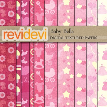 Digital scrapbook textured papers - Baby Bella 10071 (pink)