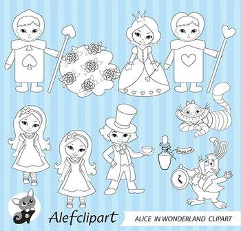 Digital stamp  Alice in Wonderland coloring graphic clip art
