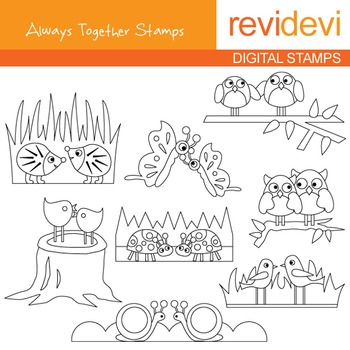 Digital stamp - Always together (birds, owls in pair) coloring graphic, 07151