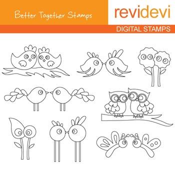 Digital stamp - Better Together (birds, owls) coloring gra