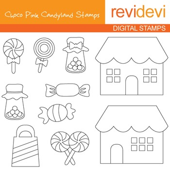 Digital stamp - Choco pink candyland (candy shop, sweets) coloring, 07113