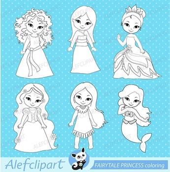 Digital stamp - Fairytale Princess (cute princesses) coloring graphic clip art