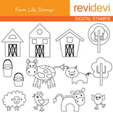 Line art - Farm Life Stamps 07062 (farm animals, barnyard) coloring