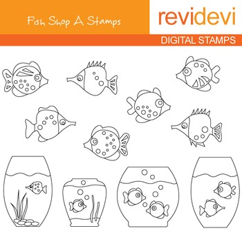 Digital stamp - Fish Shop A 07111 (aquarium) coloring graphic clipa rt