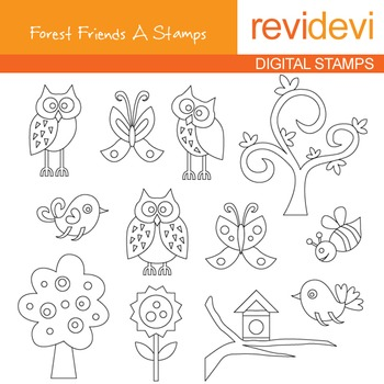 Digital stamp - Forest Friends A (owls, trees, birds) coloring graphic clip art