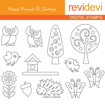 Digital stamp - Forest Friends B (owls, trees, butterflies) coloring graphics