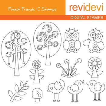 Digital stamp - Forest friends C (trees, owls, birds) coloring graphics