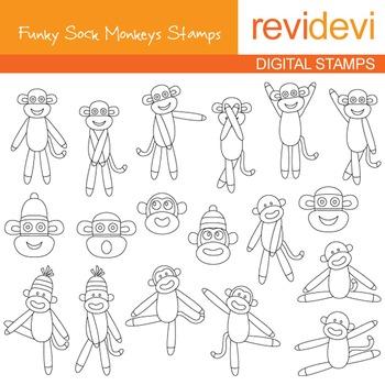 Line Art Digital stamp - Funky sock monkeys 07074 (coloring graphic clip art)