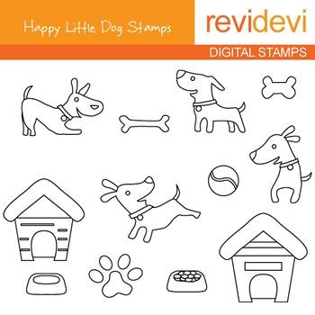 Line art Digital stamp - Happy Little Dog (puppy, pet) coloring, 07102