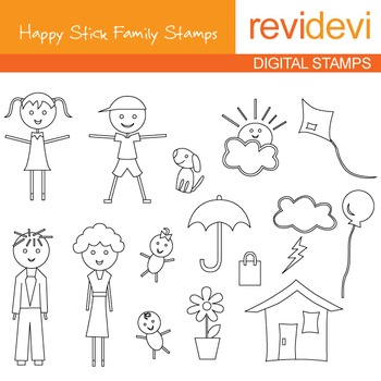 Line art Digital stamp - Happy Stick Family 07035 (coloring graphic clip art)