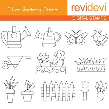 Digital stamp - I love gardening 07050 (coloring graphic clip art)