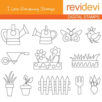Digital stamp - I love gardening 07050 (coloring graphic clip art)