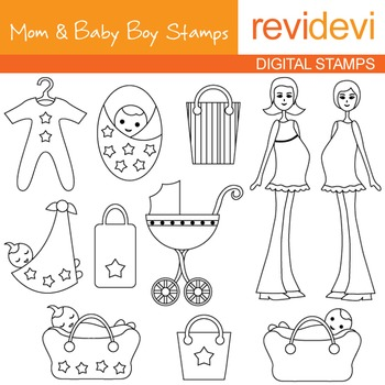 Digital stamp - Mom and Baby Boy Stamp 07068 (mom to be, pregnancy, maternity)