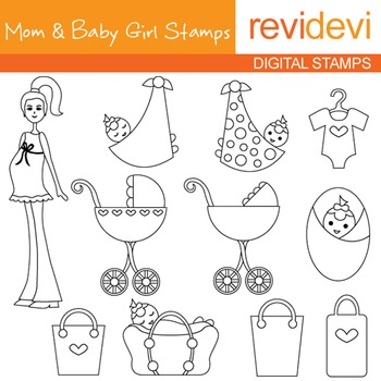 Digital stamp - Mom and Baby Girl Stamps 07060