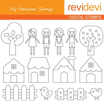 Digital stamp - My Hometown (kids, houses, trees) coloring graphic clip art