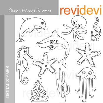 Line art Digital stamp - Ocean Friends 07194 (sea life, sea animals) coloring