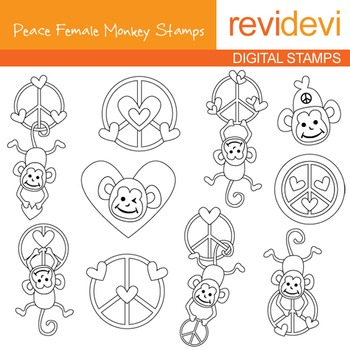 Digital stamp - Peace Female Monkey (heart, peace sign) coloring, 07116
