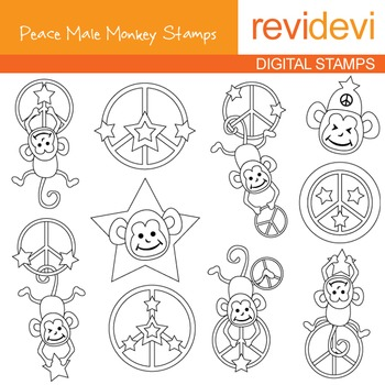 Digital stamp - Peace Male Monkey (hanging monkeys on peace signs) 07117