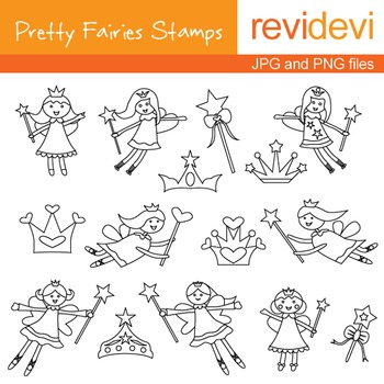 Digital stamp - Pretty Fairies Stamps 07023 (coloring graphics clip art)
