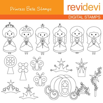 Digital stamp - Princess Belle (cute princesses) coloring graphic clip art 07186