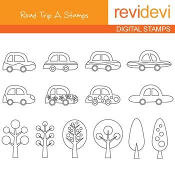 Digital stamp - Road Trip A 07093 (cars, trees) coloring graphics clip art