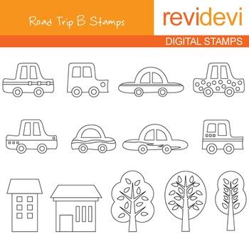 Digital stamp - Road Trip B 07094 (cars, trees) coloring graphic clip art