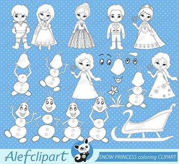Digital stamp SNOW PRINCESS coloring graphic clip art