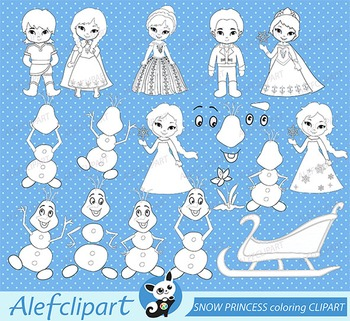 Digital stamp SNOW PRINCESS coloring graphic clip art