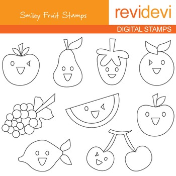 Digital stamp - Smiley fruit 07128 (coloring graphic clip art)