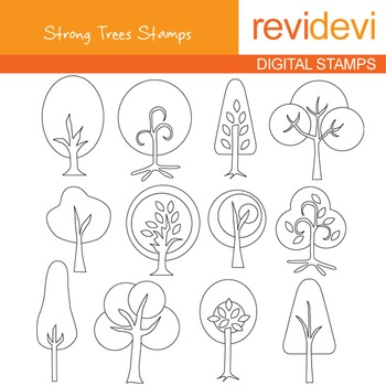Digital stamp - Strong Trees Stamps 07039 (coloring graphic clip art)