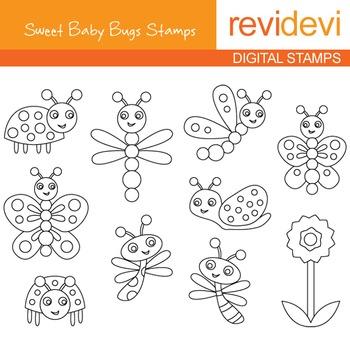 Digital stamp - Sweet Baby Bugs (butterflies, ladybugs) coloring graphics, 07138