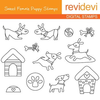 Digital stamp - Sweet Female Puppy 07105 (pet, dog) coloring graphic