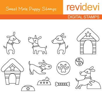 Digital stamp - Sweet Male Puppy 07106 (pet, dog) coloring graphic clip art