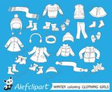 Digital stamp, coloring  Winter Clothing Clipart Set