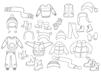 Digital stamp, coloring Winter Clothing Clipart Set for boys