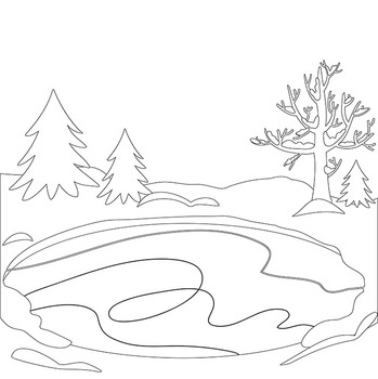 Digital stamp, coloring Winter Ice Skating Clipart Boys
