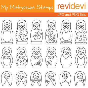Digital stamps - My Matryoshka Stamps 07021 (coloring graphic clip art)